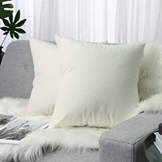 Lewondr Velvet Throw Pillow Case, 2 PACK Soft Solid Color Modern Square Pillow Case Throw Cushion Covers for Car Sofa Bed ...