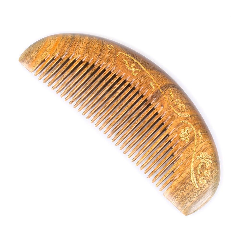 経過情報無知ブリーズライクBreezelike 緑檀 静電気防止 櫛 細歯 半月形 金色の花 グリーンサンダルウッド コーム