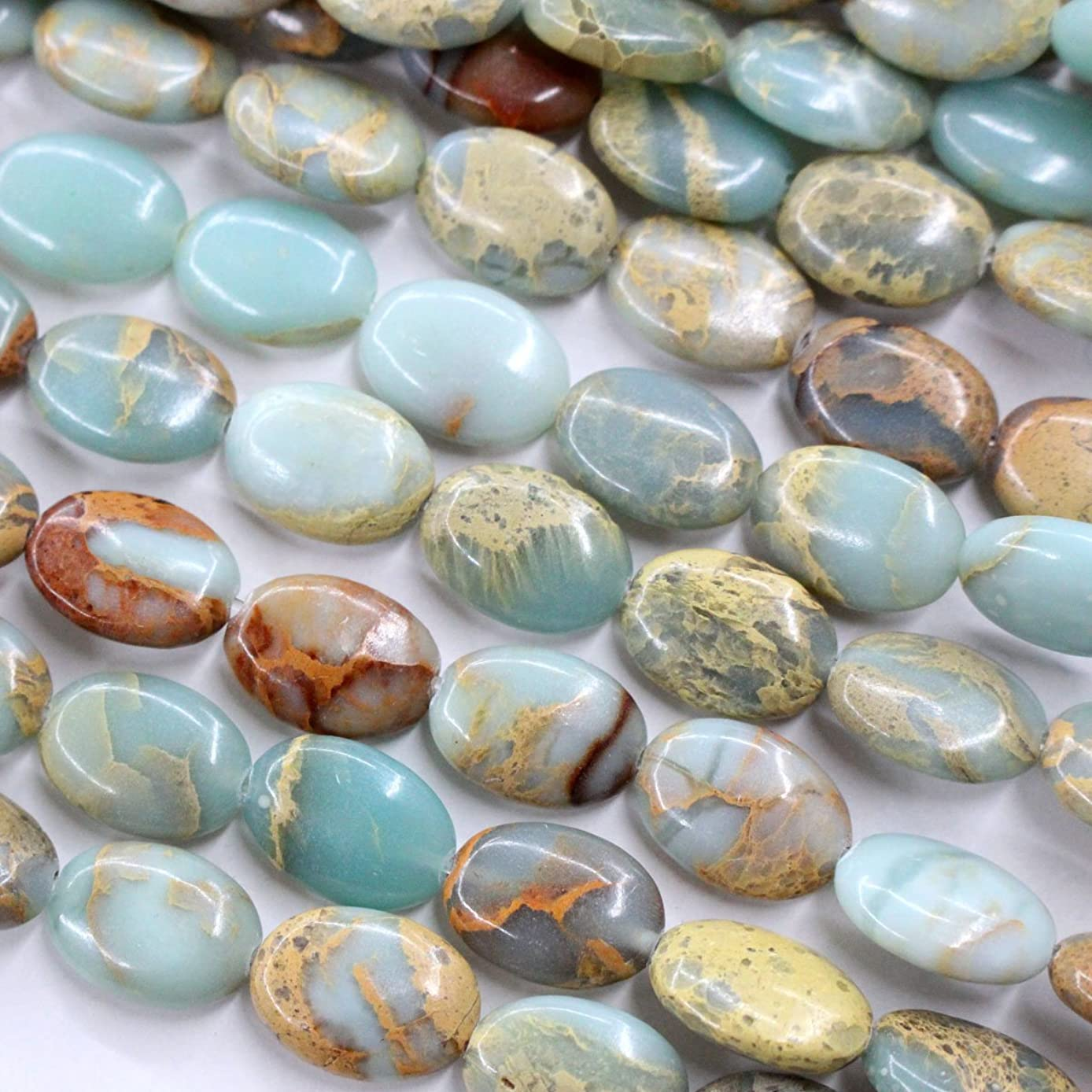 Natural Color Genuine Serpentine Real Gemstone Loose Beads Findings for Jewelry Making Supplies (Oval 10*14mm)