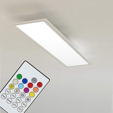 Briloner Leuchten Plafonnier LED encastrable en blanc – Panneau LED dimmable – Change de couleur avec télécommande – Idéal pour le bureau ou le salon