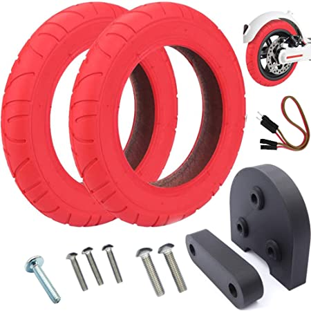 Vestigia® - Par de Neumáticos de 10 Pulgadas para Xiaomi M365, Pro Patinete Eléctrico - Kit para Ruedas - Wanda - (2 x Rojo neumáticos + Espaciador)
