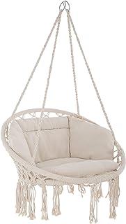TecTake 800708 Fauteuil Suspendu Relax Design de Jardin en Coton, 1 Place, Intérieur et extérieur, Coussins Confortables I...