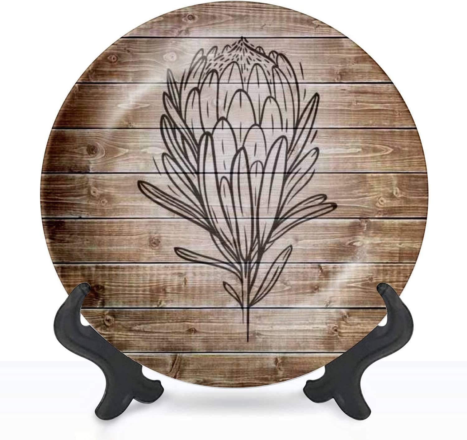 Trust Ceramic Max 82% OFF Hanging Decorative Plate Protea white on isolated flower