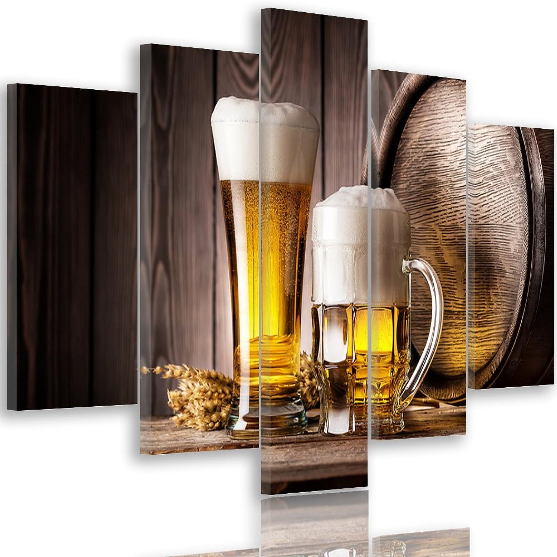 Feeby. Leinwandbild - 5 Teile - Bilder, Wand Bild, Wandbilder, Kunstdruck XXL, 5-Teilig, Typ A, 150x100 cm, Bier, Alkohol, FASS, Bier, Glas,Essen, RUSTIKAL