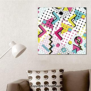 SfeatruAngel_SOSUNG Framed Wall Art Canvas Painting,Colorful Abstract 80s Style Seamless Pattern(16