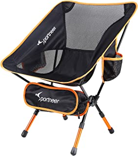 Sportneer Ultralight Portable Folding Camping Chair, Backpacking Chairs, Compact and Heavy Duty Outdoors, BBQ, Beach, Travel, Picnic, Festival with Storage Bags and Carry Bag