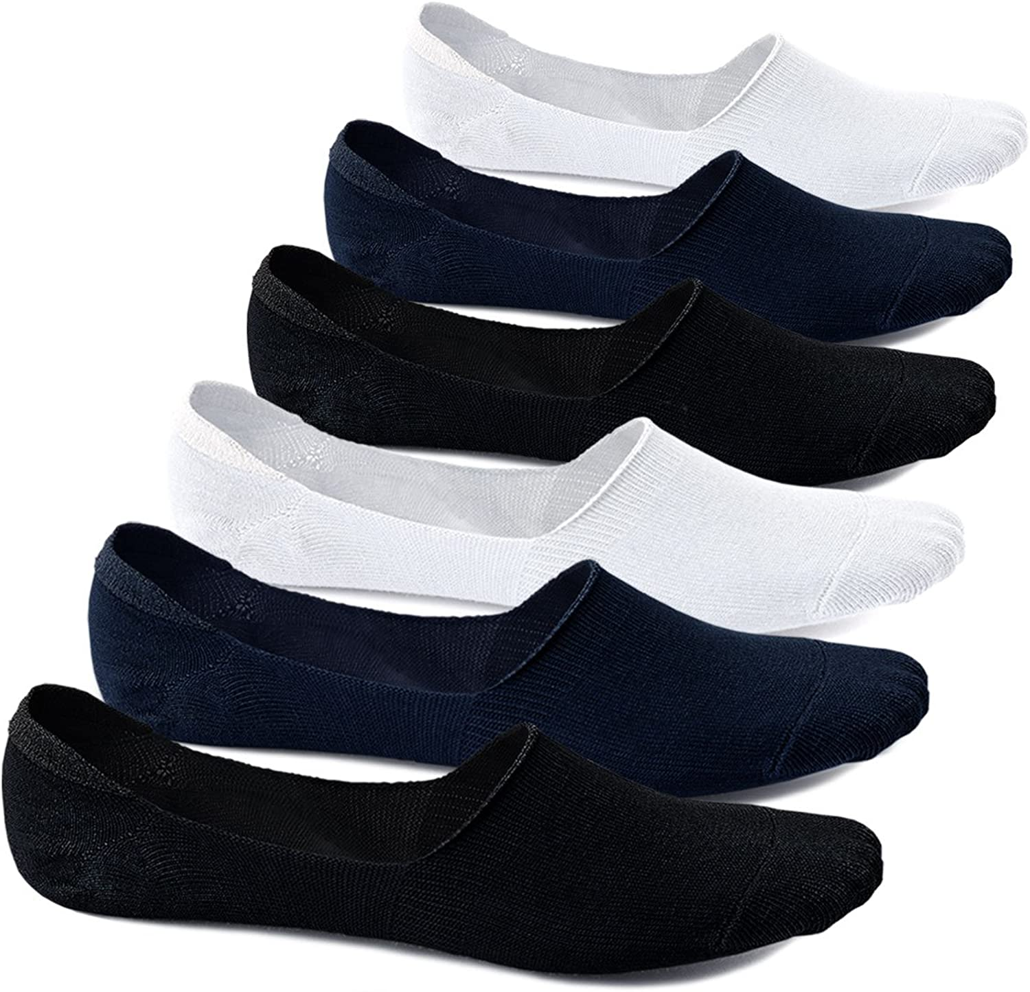 Men No Show Low Cut Socks 4 6 Pairs Cotton Non-slip Invisible Flat Boat Liner Sock