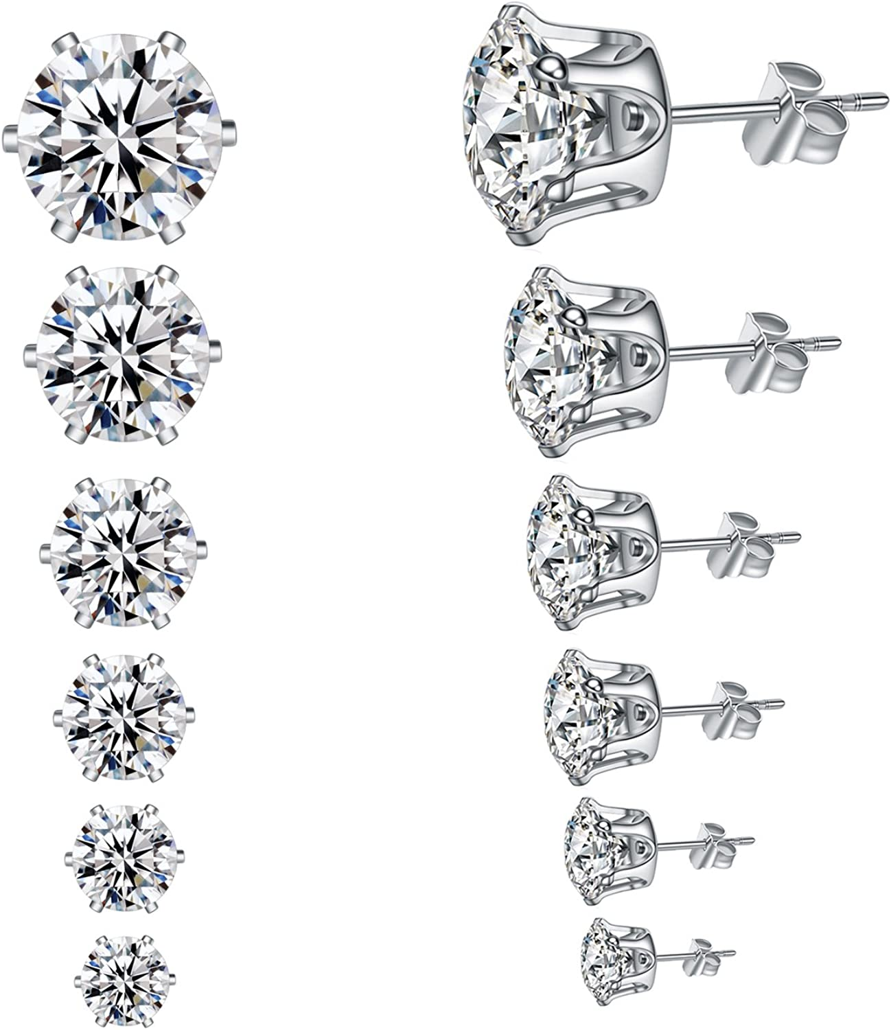 YAN & LEI Hypoallergenic Surgical Stainless Steel Round Clear Cubic Zirconia Ear Stud Earrings for Women 6 Pairs Set in 3,4,5,6,7,8 mm