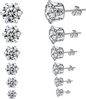 Hypoallergenic Surgical Stainless Steel Round Clear Cubic Zirconia Ear Stud Earrings for Women 6 Pairs Set in 3,4,5,6,7,8 mm