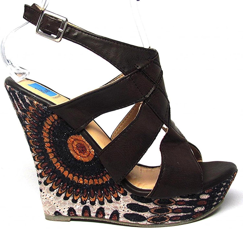bluee Suede shoes Wilder Platform Wedge Sandals Side Printed Lace Black Tan Size 6-11