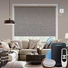 Graywind Motorized 100% Blackout Roller Shade with Alexa Google Smart Home Control Build-in Hardwired Window Shades Therma...