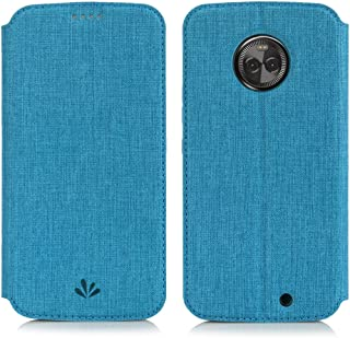 Simicoo Moto X4 Flip PU Leather Slim Fit case Card Holster Stand Magnetic Cover Clear Silicone TPU Full body Shockproof Pocket Thin Wallet Case for Moto X 4th Generation (Blue, Moto X4)