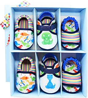 KazarMax Anti-Skid Breathable Soft & Comfortable Dino Boy Printed Born Baby Winter Pack of 3 Booties Gift Set - TOOTSIES/Shoes