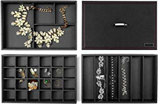 Lifomenz Co Jewelry Tray Organizer 3 Leather Stackable Jewelry Trays with Mirror Lid ,Grid Tray Jewelry Holder for Earrings Bracelets Necklaces and Rings, 34 Slot Leather Jewelry Storage Display Tray