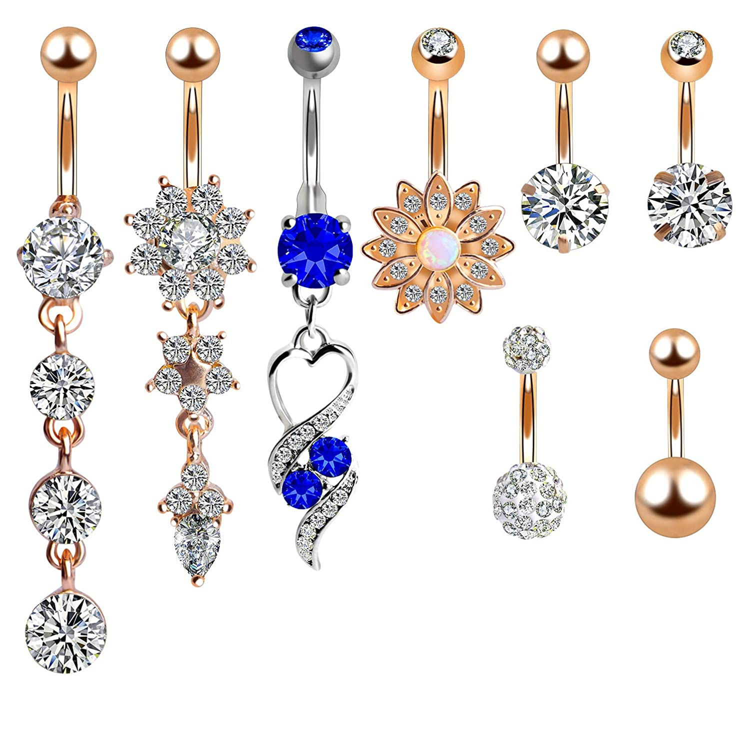 Outee Belly Button Rings Belly Bars Navel Rings Body Piercing Jewelry Stainless Steel for Women Girls