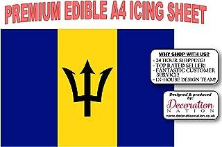 Decoración comestible para tarta con diseño de la bandera de Barbados en tamaño A4