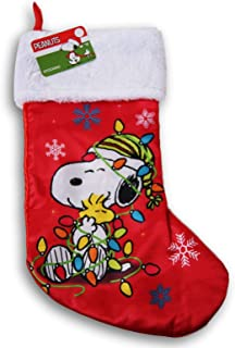 Peanuts Snoopy and Woodstock Silky Christmas Stocking - 16 x 9 Inches