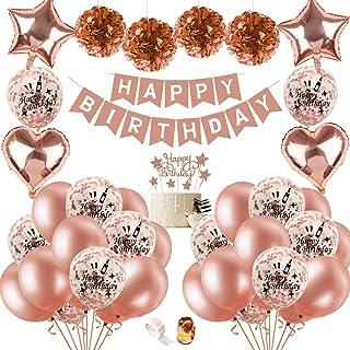 SPECOOL Decoraciones de Fiesta de Cumpleaños con Adorno de Pastel de Bricolaje, Pancarta de Feliz Cumpleaños, Borlas Brillantes, Globos de Confeti con Letras, Decoraciones para Cumpleaños