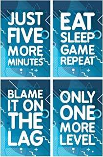Game Posters, Set of 4, 11x17 Inches, Gaming Artwork, Video Gamer Wall Art, Boys Room Kids Print B2