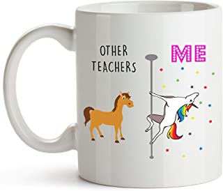 YouNique Designs Teacher Coffee Mug, 11 Ounces, Unicorn Mug, Teacher Gifts for Men and Women (White)