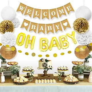 Sweet Baby Company Baby Shower Decorations Neutral For Boy Or Girl With Welcome Baby Banner, Baby Foil Balloon, Paper Lant...