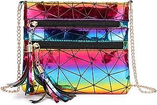 RARITYUS Women Fashion Hologram Crossbody Bag Glitter Envelop Clutch Geometric Metal Chain Shoulder Handbag Purse with Tassel, Rainbow (Rainbow) - RAbb-191604200Y-02