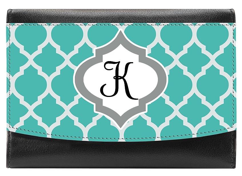 こどもの日ラベマイクロSnaptotesトレンディTealモロッコモノグラムデザインコンパクトレザー財布の女性