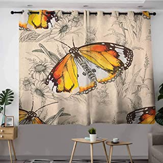 DGGO Curtains for Living Room,Butterfly Sign of Supreme Grace and Meditative Journey Real Self Creature Theme,Blackout Draperies for Bedroom,W63x63L Orange Black Cream