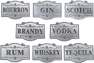 Amlong Plus Deluxe Set of Liquor Tags for Bottles or Decanters, Silver Color, Set of 8 With Adjustable Chain Features (Bourbon, Brandy, Gin, Rum, Scotch, Tequila, Vodka, and Whiskey)