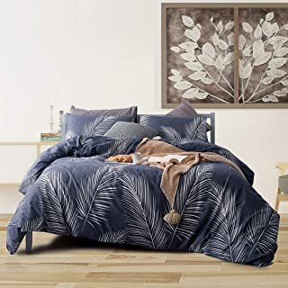 mixinni Tropical 3 Pieces White Palm Leaf Print Duvet Cover Set 100% Natural Cotton Navy Blue Duvet Cover with Zipper Ties Bedding Quilt Cover for Him and Her,Easy Care,Soft,Durable-Queen/Full Size