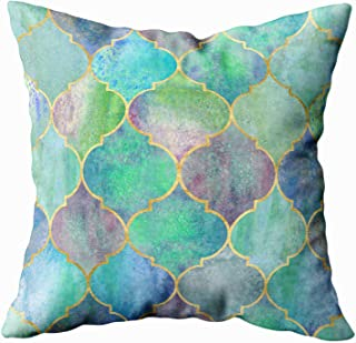 Shorping Body Pillow Case with Zipper, Zippered Pillowcases 20X20Inch Throw Pillow Covers Vintage Pattern with Golden Line Watercolor Blue Purple Green Window Design for Home Sofa Bedding