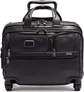 TUMI - Alpha 3 Deluxe 4 Wheeled Leather Laptop Case Brief Briefcase - 17 Inch Computer Bag for Men and Women - Black