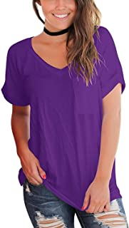 Women's Short Sleeve V Neck T Shirts Casual Loose Plain Basic Tee Tops Blouse Pocket