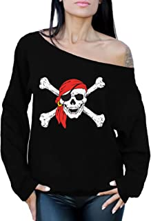 Awkward Styles Jolly Roger Skull & Crossbones Off The Shoulder Sweatshirt Pirate Skull