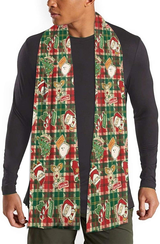 Womens Winter Scarf Xmas Plaid Santa Reindeer Wraps Warm Pashmina Shawls Gift Reversible Soft For Girls