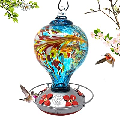 Grateful Gnome - Hummingbird Feeder - Hand Blown Glass - Large Blue Egg with Flowers - 36 Fluid Ounces Free Bonus Accessories S-Hook, Ant Moat, Brush and Hemp Rope Included