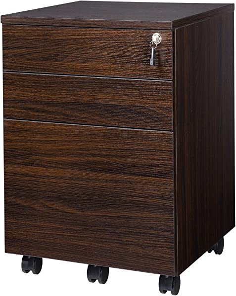 TOPSKY 3 Drawers Wood Mobile File Cabinet Fully Assembled Except Casters Walnut Letter Size