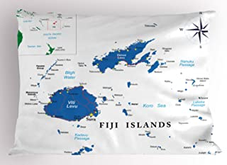 Ambesonne Fiji Pillow Sham, Mapping with Names Written Geographical Layout, Decorative Standard Queen Size Printed Pillowcase, 30