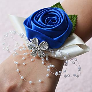 Prettybuy 2pcs Package Wedding Prom Party Satin Rose Wrist Corsage Flower w/Pearl Rhinestone Fabric Leaves Ornament Wirstband (Royal Blue)