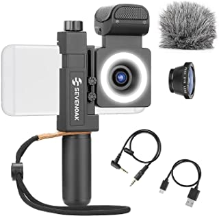 Sevenoak SmartCine by Movo - Complete Universal Smartphone Video Kit with Phone Rig, Built-in Stereo Microphone and LED Li...