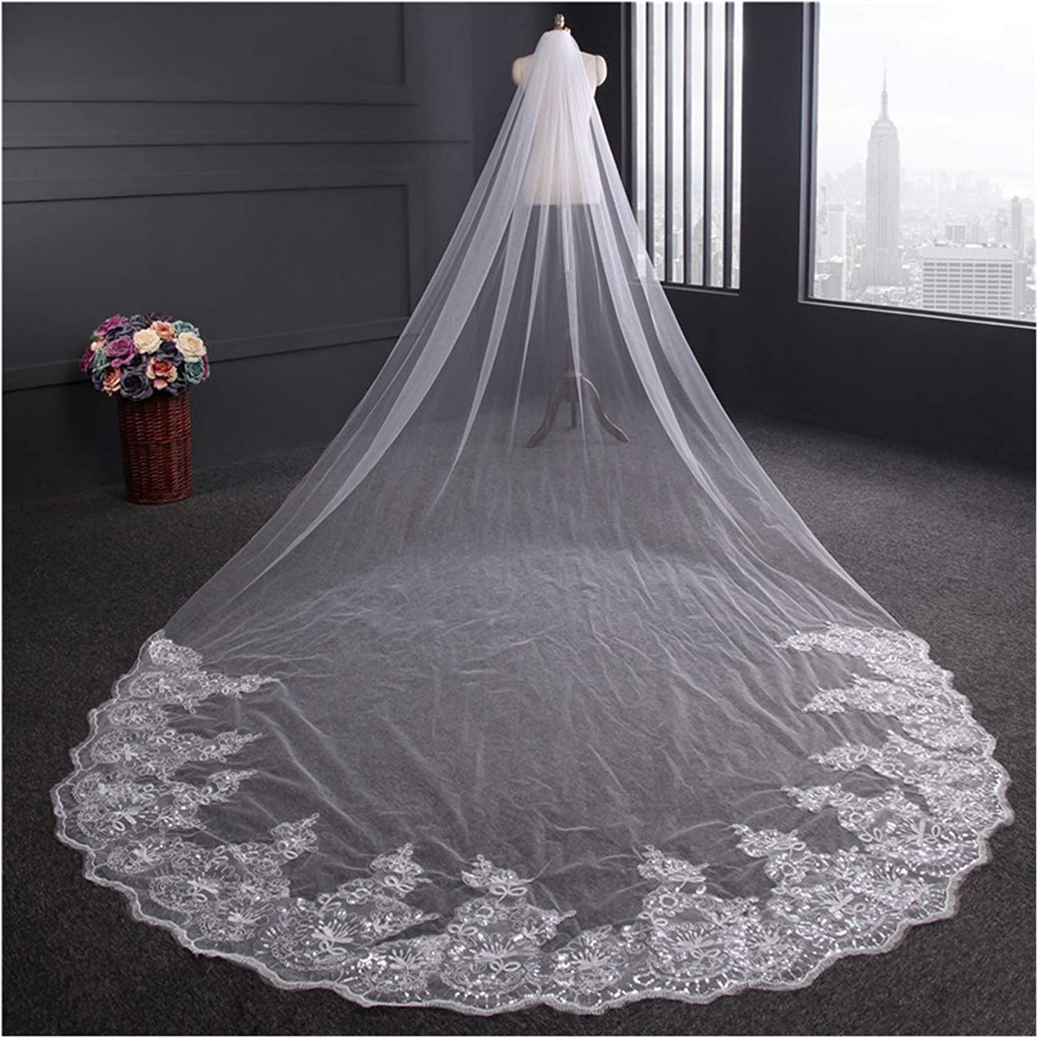 Moonlight Star 4 Sale special price Meter Cathedral Wedding Veils Long Br High material Lace Edge
