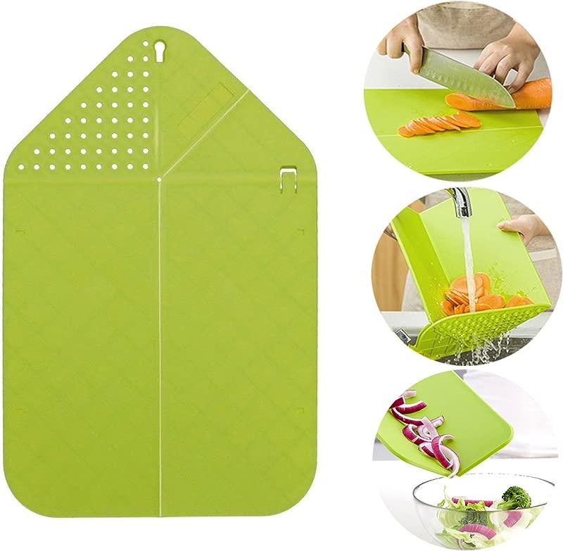 Rinse Chop Board Veggies Fruit Cutting Board Strainer Chopping Board Multifunctional Foldable Chopping Board Multifunctional Kitchen Tool Green