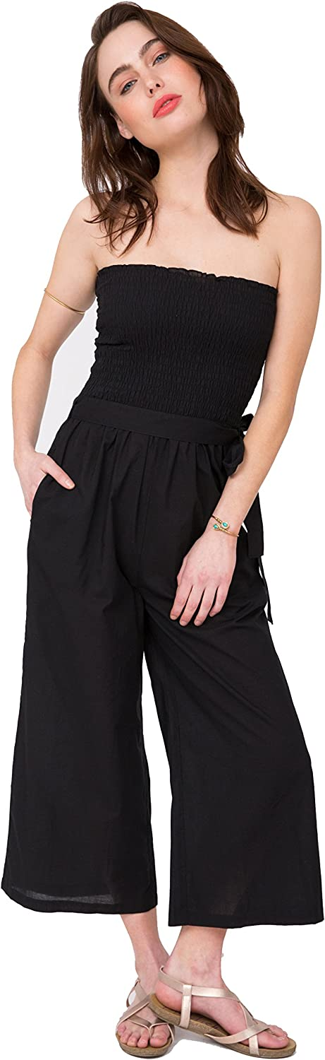 Likemary Culotte Cotton Jumpsuit Romper & Wide Leg Pants 2 in 1
