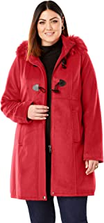 Jessica London Women's Plus Size Faux Fur Toggle Coat