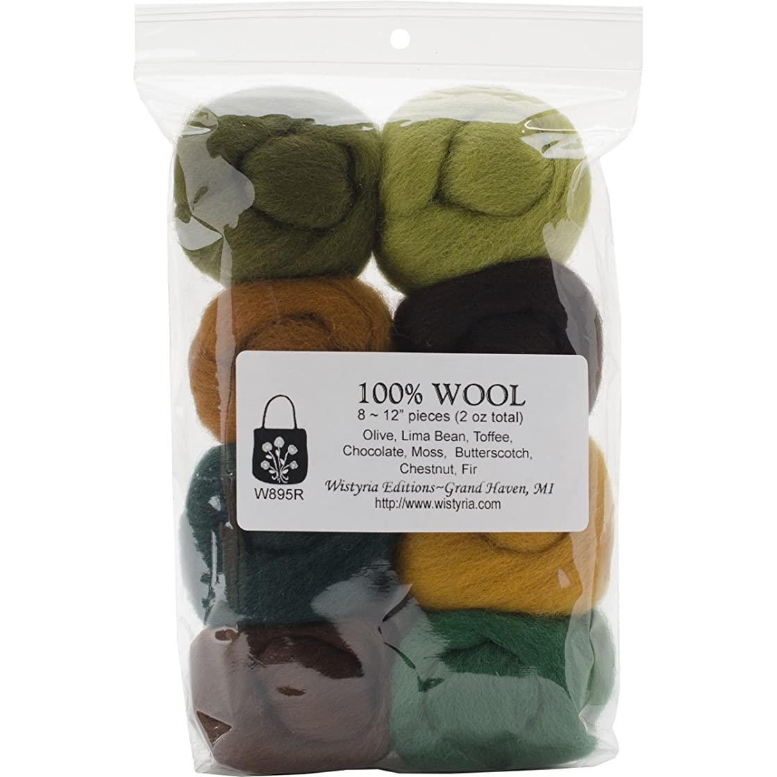 WISTYRIA EDITIONS 0.25-Ounce Wool Roving, 12-Inch, Woodsy, 8-Pack