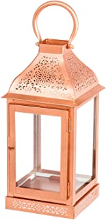 Hanging Candle Holder – Indoor or Outdoor Decorative Hanging Lantern – Tealight or Pillar Candle Holder – Copper or Gold Finish Lantern Candle Holder for Home, Party, or Patio Decoration (Copper)
