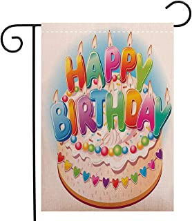 Custom Double Sided Seasonal Garden Flag Birthday Decorations for Kids Cartoon Happy Birthday Party Image Cake Garden Flag Waterproof for Party Holiday Home Garden Decor, Polyester 12 x 18 inch