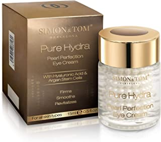 Simon & Tom Pure Hydra Pearl Perfection Eye Cream - Hydrating Hyaluronic Acid Encapsulated Eye Gel Cream for Dark Circles, Puffiness, Eye Bags, Dehydration and Fine Lines 15ml.