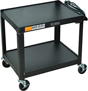 DMD Audio Visual (AV) Utility Cart / Mobile Presentation Station with Two Shelves, 26 Inch Height, Electrical Assembly, High Gloss Metal Cart in Black