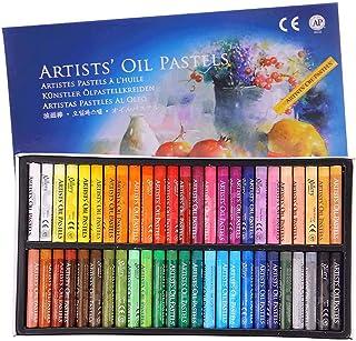 ست پاستل روغنی ، نقاشی حرفه ای نقاشی های نرم روغنی نقاشی نقاشی های دیواری نقاشی دیواری قابل شستشو دور چوب های غیر سمی پاستل برای هنرمند ، کودک ، دانشجو ، مبتدی (50 رنگ)